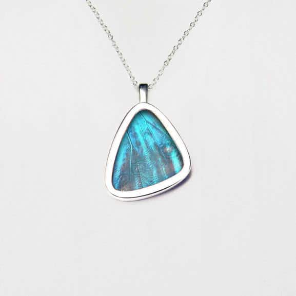 Morpho aurora Signature real butterfly wing pendants