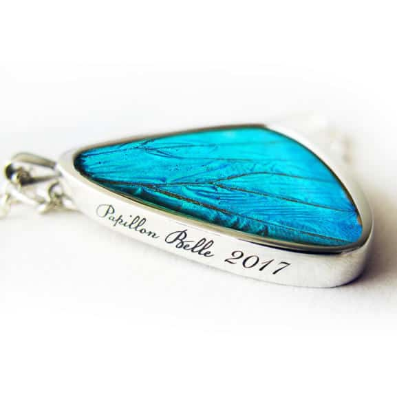 Morpho Signature real butterfly wing pendants