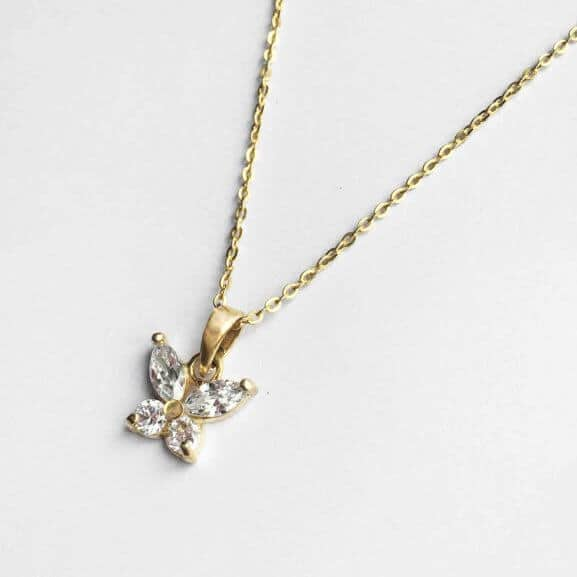 Papillon Belle crystal butterfly charm in yellow gold