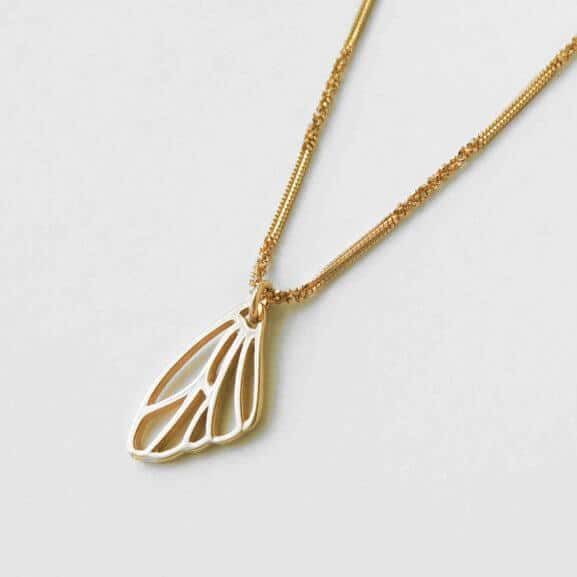 Papillon Belle skeleton butterfly wing charm in yellow gold