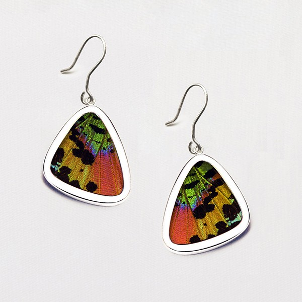 Urania Chrysiridia Ripheus Earrings butterfly wing earrings