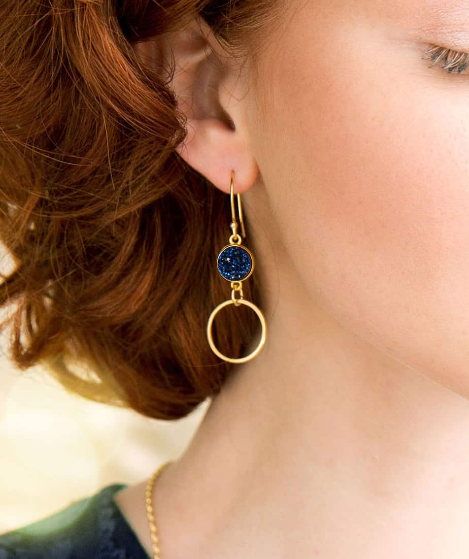Gold Plated Circle of Life Earrings with Titanium Blue Druzy